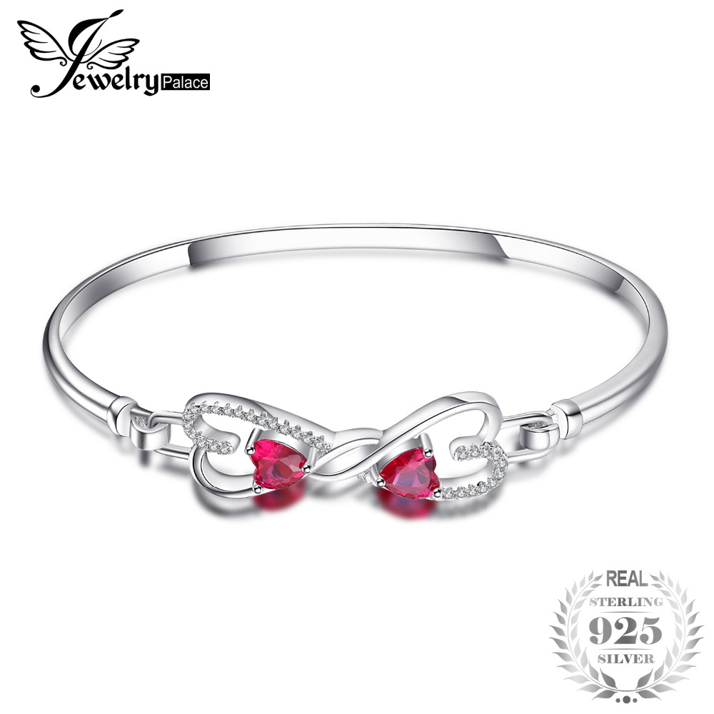 JewelryPalace Forever Love Heart 1.6ct Created Ruby Bangle 925 Sterling Silver Fashion Bracelet For Women Fine Jewelry Gift 5pcs fashion 925 sterling silver fine jewelry bangle