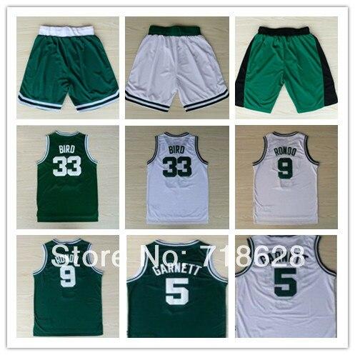 4435bca98439 Top Quality Basketball Shorts  33 Larry Bird  9 Rajon Rondo  5 Kevin  Garnett Basketball Jersey
