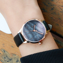 Top Brand Luxury Women Watches Popular shell face Crystal Star dial Watch Ladies leather band quartz Wristwatch Reloge Feminino(China)