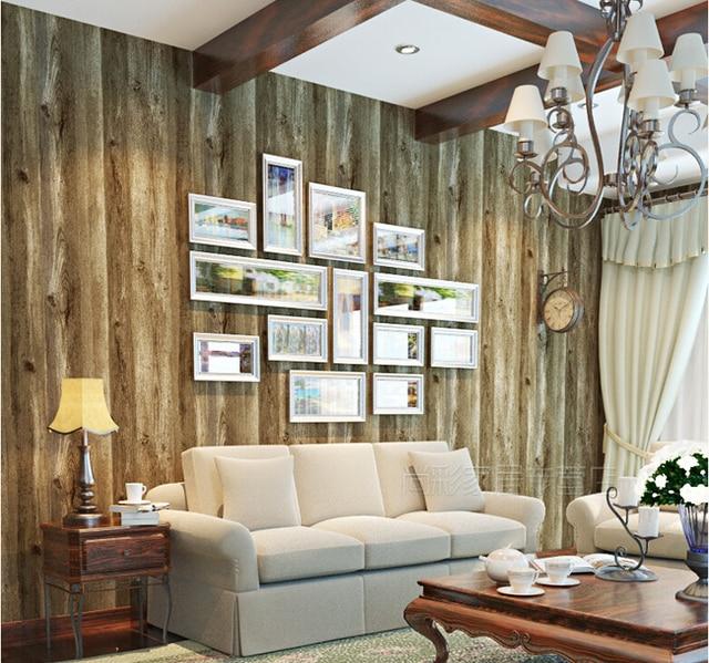Non tessuto strisce di legno disegni parete camera da letto ...