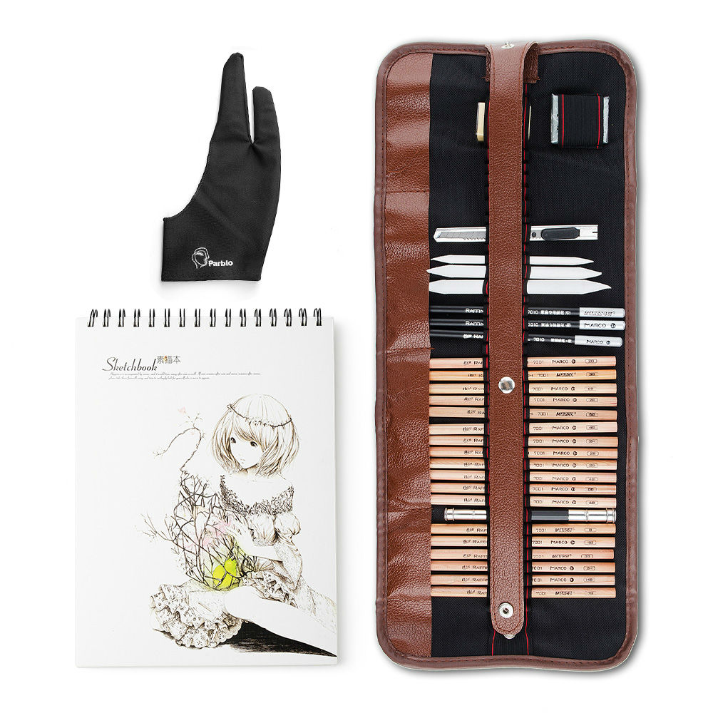 ARTIST SKETCHING DRAWING PENCIL SET IN TRADITIONAL LEATHER ROLL CASE