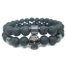 2 PCS Skull Bracelets Micro Pave Zircon Beads Crystal with Magnetic Hematite Obsidian Natural Lava Stone For Couples Wrist Band(China)