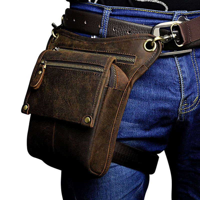 Fine Jewelry Bright Vintage Genuine Leather Belt Bag Mens Waist Bag Leg Pouch Pack Mobile Phone Camera Organize Multi-function Casual Bags