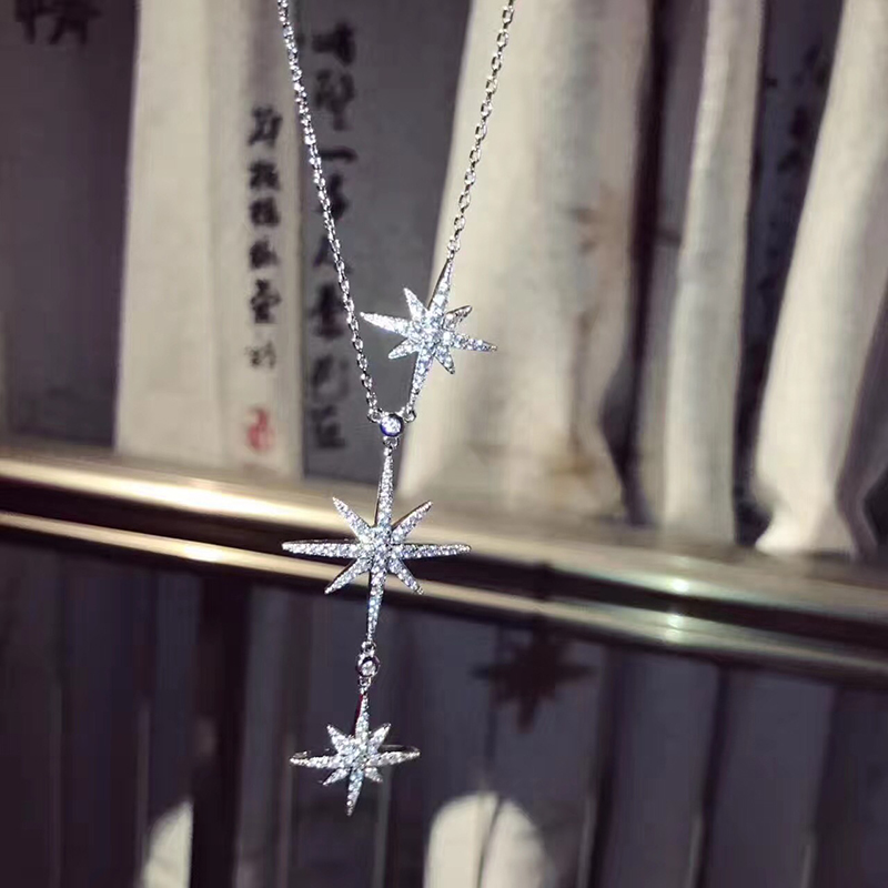 Hot Sailor Moon Pure 925 Sterling Silver Jewelry For Women Drop Star Pendant More Star Pendant Fashion Party Necklace Jewelry