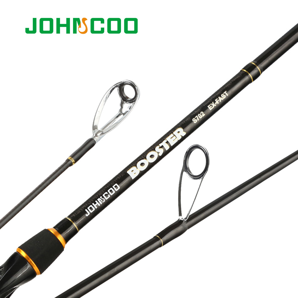 Ex-Fast Fishing Rod 2.1m 2.4m Carbon Rod ML/M 2 Tips 5-28g Spinning Rod Casting Light Jigging Rod 2 Sections Johncoo booster