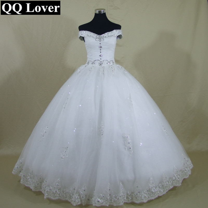 QQ Lover 2019 New Beaded Off the Shoulder Ball Gown Wedding Dress Custom-made  Bridal 01671e62ce32