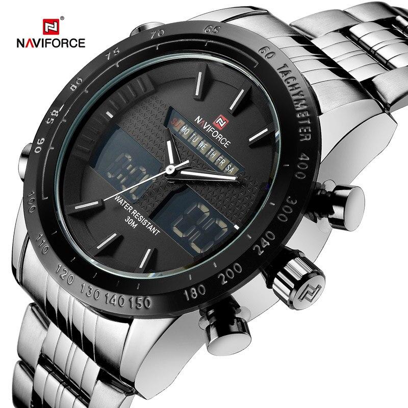 NAVIFORCE Men Watches Top Luxury Brand Waterproof Date Clock Male Full Steel Casual Quartz Sport Wrist Watch Relogio Masculino