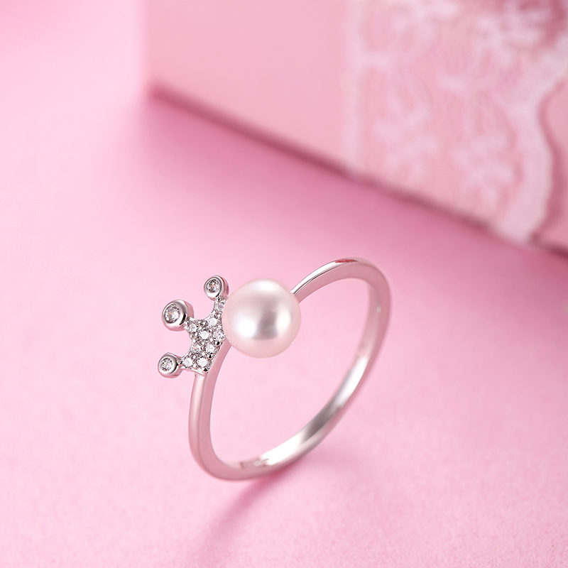 GCZQ Crown pearl rings white freshwater pearl rings Sterling 925 silver wedding rings women brides exquisite jewelry engagement