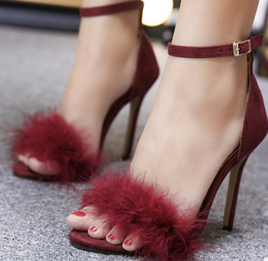 6fc181e013 Mulheres pena bonita franja saltos sapatos sexy stiletto sandálias de salto  alto sapatos de festa sapatos de verão 3 cores vermelho Vinho  vermelho preto em ...