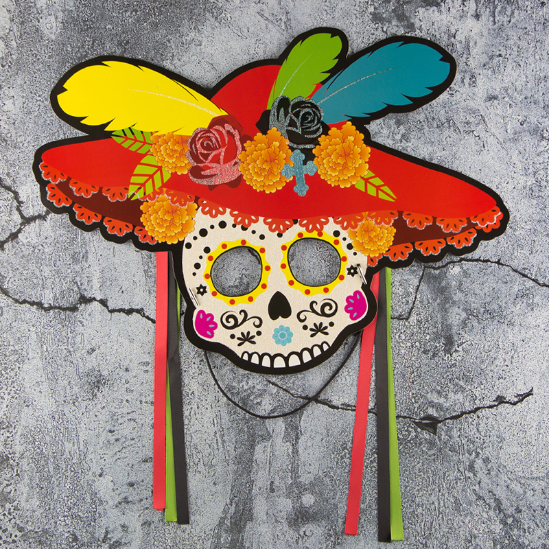 Mexican Skull Mask Day Of The Dead Halloween Party Decorations 4pcs Sugar Skull Masquerade Masks Photo Booth Props Halloween2018 in Party DIY Decorations from Home Garden