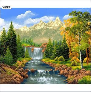 YIKEE K1055 diamont, pintura 5d diamante, diamante pintura, pintura diamante paisagem do rio e montanha
