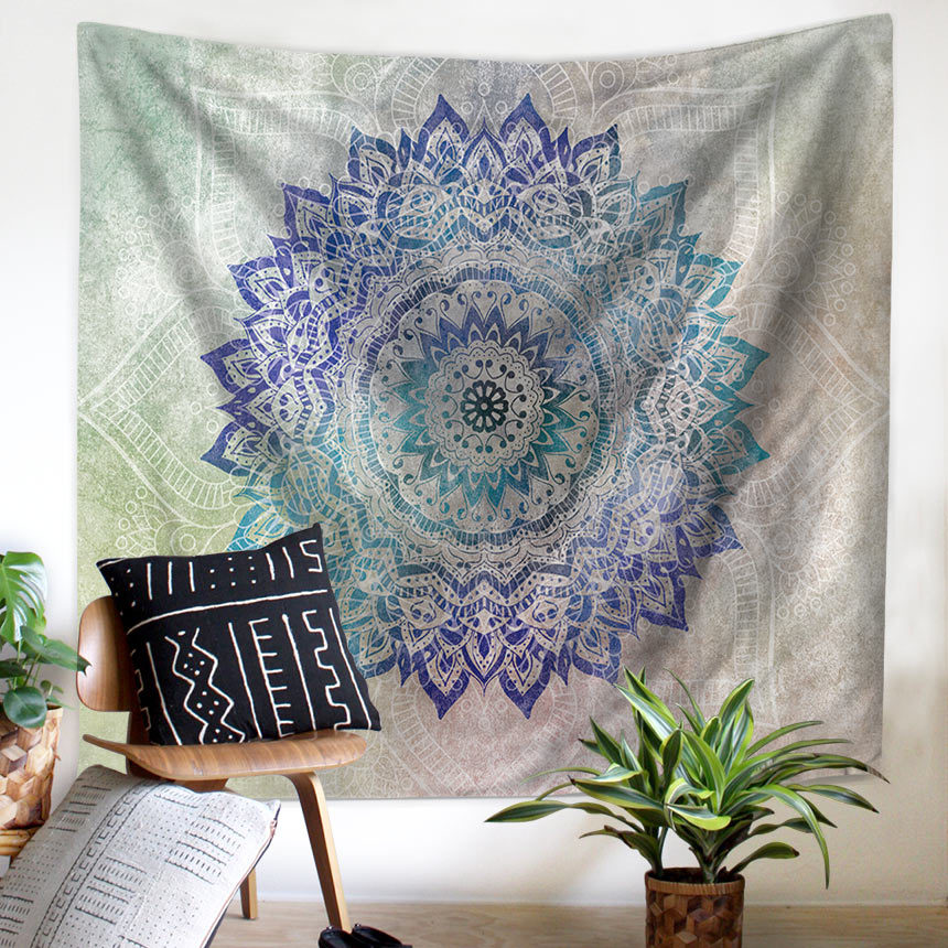 Image 3 - Tapestry Mandala Flower Wall Hanging Farmhouse Home Decor Boho Bohemian Psychedelic Ceiling Window Blanket Bedspread Beach Towel-in Tapestry from Home & Garden
