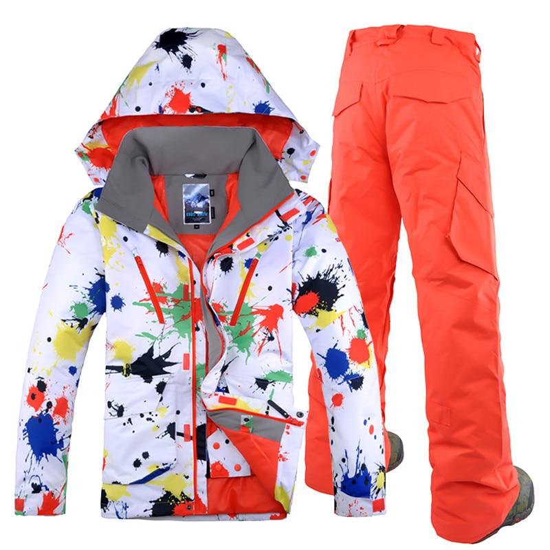 GSOU NEIGE Hommes Ski Veste Pantalon de Snowboard Ski Coupe-Vent Imperméable Thermique Mâle Vêtements D'hiver Pantalon En Plein Air Sport Ensemble