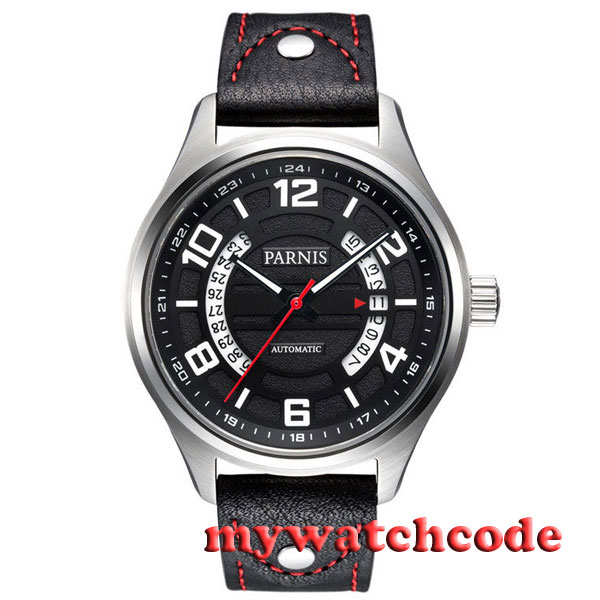 Parnis black dial Genuine leather Sapphire Glass miyota Automatic mens Watch 376 42mm parnis withe dial sapphire glass miyota 9100 automatic mens watch 666b