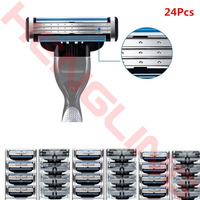 24 Pcs Set Blades Cartridges For Gillette Mach 3 Generic Replacement Shaving Razor