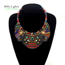 2016 New women bohemia necklace&pendants multicolor statement choker necklace za antique tribal ethnic boho jewelry mujer bijoux