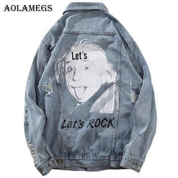 Aolamegs Denim Jacket Men Printed Blue Hole Cowboy Men's Jacket Casual High Street Fashion Outwear Men Coat Streetwear Autumn - DISCOUNT ITEM  40% OFF All Category