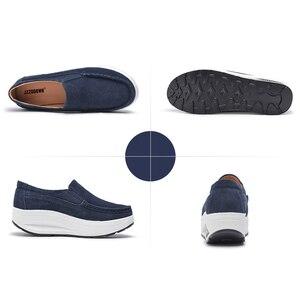 Image 4 - JZZDDOWN Inek Süet Sarmaşık kadın ayakkabı platformu Artı Boyutu mokasen Ayakkabı Kadın Platformu Hakiki Deri Bayan kadın ayakkabısı