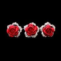 JEYL 20 pcs Lot Rose Fleur En Cristal Clair Strass Diamante Femmes De Mariage De Mariée Cheveux Pins Clips Diapositives Rouge