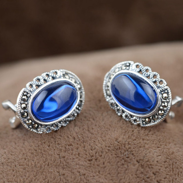 Stud Earring 925 Silver GZ MARCASITE Blue Corundum Earrings for Women S925 Sterling Silver boucle d'oreille