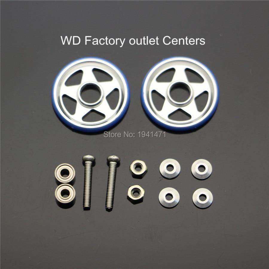 RFDTYGR 19mm Aluminium Rollers w / Plastic Ringen zelf gemaakte Onderdelen Voor Tamiya MINI 4WD 19mm 5-Spaak Type Gids-Wiel D017 2 Set / lot