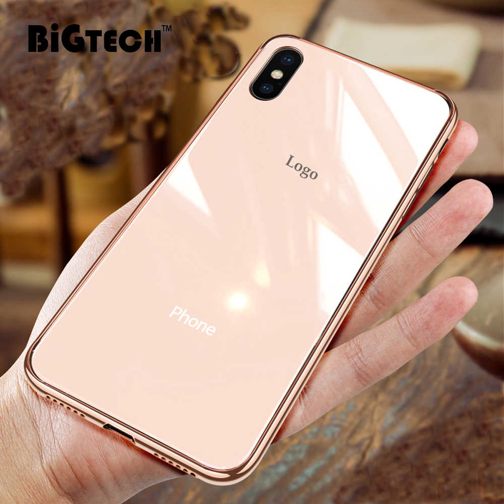 BiGTECH Super Plating Gehard Glas Case Voor iPhone XS MAX XR 6 6S 7 8 Plus Coque Patroon Cover voor iPhone 8 7 XS XR Dunne Case