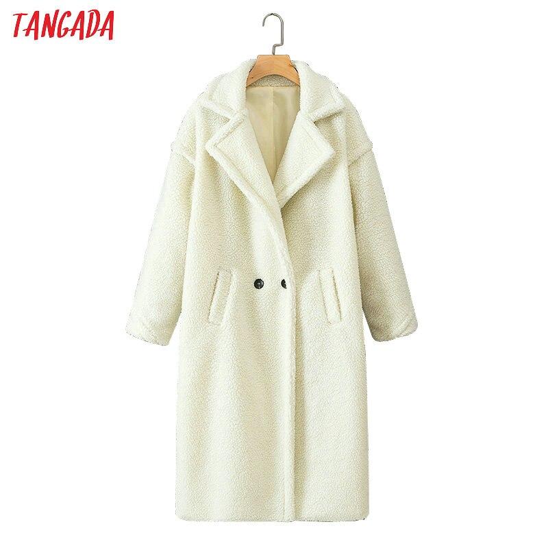 Tangada korea chic white teddy coat for woman winter long sleeve thick warm long ladies coat