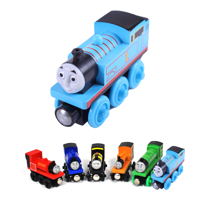 New Kids Wooden Toy Magnetic Thomas And Friends Wooden Model Train Random Colors