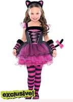 Retail 2014new kerst meisjes kleding sets catwoman set streep van bittere fijnstraal jurk gestreepte broek hoofdband