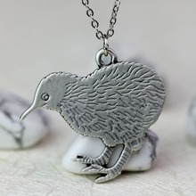Dainty Kiwi Necklace Anti Silver New zealand Bird Rescue Jewelry for Animal Lover Gift A167