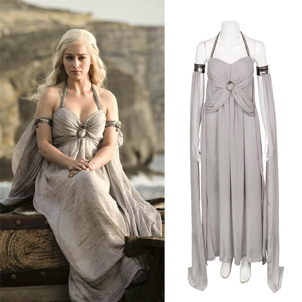 Nouveau Costume Cosplay Daenerys Targaryen une chanson de glace et de feu jeu de trônes Costume longue robe licou Costumes Halloween gris