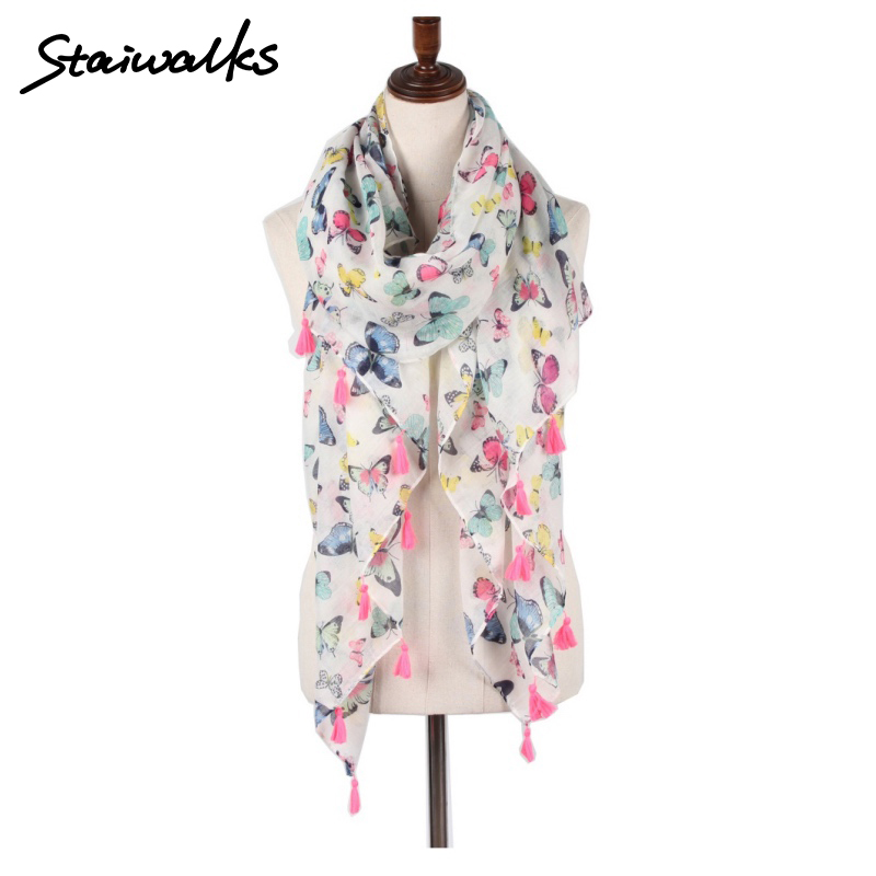 Staiwalks New Arrival Women Tassel Scarf With Pretty Animal Butterfly Print Elegant Shawl Nice Gift Travel Holiday Free Shipping