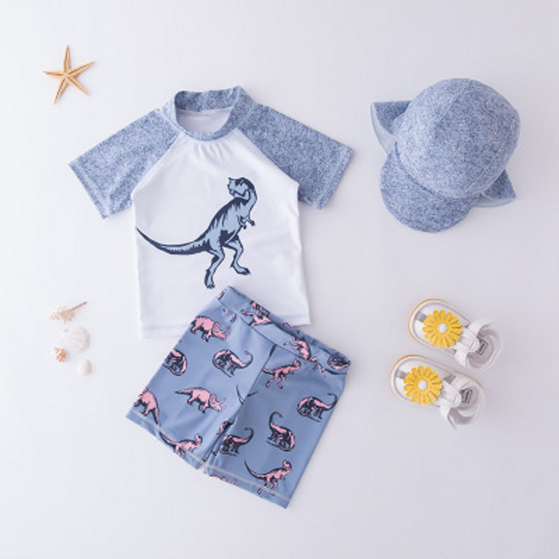 Baby Swimwear Boy Polyester Dinosaur Beach Kids Swimsuit Swimming Costume+Hat Short Sleeve Tops+ Bottoms Sun Protect