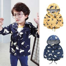 Baby Boy Jackets Warm Autumn Coat Cartoon Print Fashion Toddler Hoodie Outerwear Clothes with Pockets