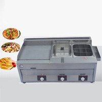 Jamielin Commercial Gas Type Grill Fryer Grilled Squid Making Machine Hand Cake Machine Deep Teppanyaki Gas Frying Machine
