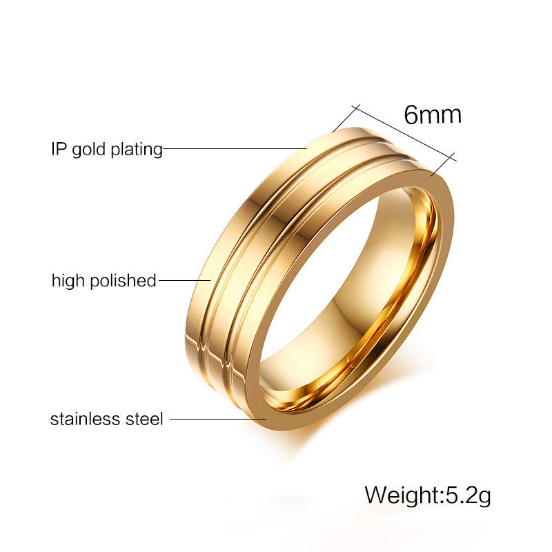 Luxury Stainless Steel Ring For Men And Women 6MM Engagement Ring Gold Female Titanium Ring