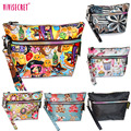 2016 Fashion Waterproof Nylon Makeup Organizador Bags Women Small Cute Cartoon Floral Printing Cosmetic Case Purse Zip Pouch