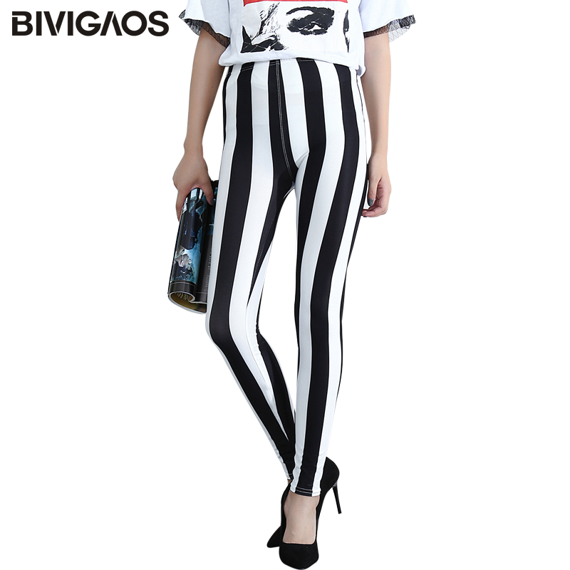 BIVIGAOS Casual Fashion Womens Black White Vertical Stripes Leggings Workout Leggings Female Milk Elastic Pencil Pants For Women