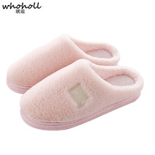 WHOHOLL  New High Quality Women Slippers Lovely soft Flat Indoor Shoes Lovers Winter Plush Warm men woman Home