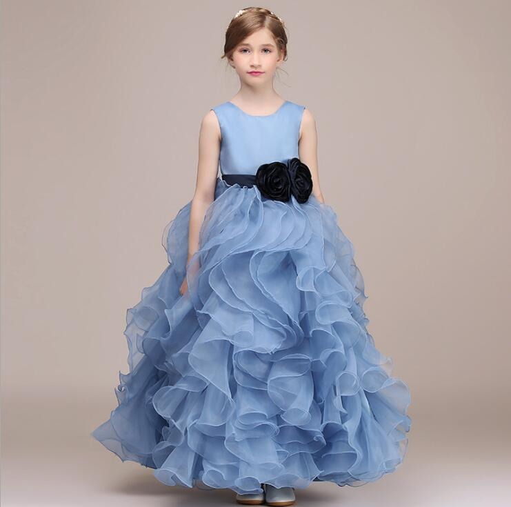 Kids Wedding Dresses Girls Blue Flower Dress Girl Party Princess Dress Christmas Birthday Clothes for 3-13 yearKids Wedding Dresses Girls Blue Flower Dress Girl Party Princess Dress Christmas Birthday Clothes for 3-13 year