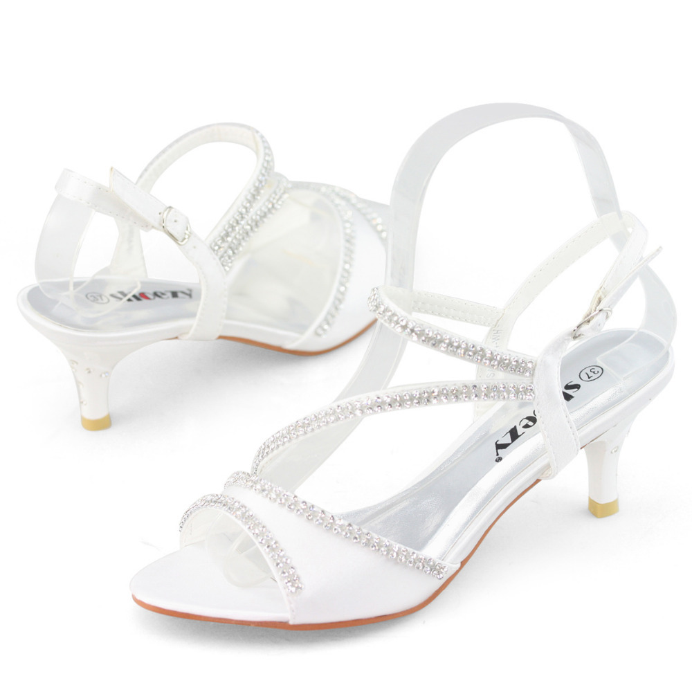 Superieur SHOEZY Brand White Kitten Heels Small Thin Low Heel Wedding Shoes Woman  Bridal Dress Shoes Satin Silk Party Rhinestone Sandals In Womenu0027s Sandals  From Shoes ...