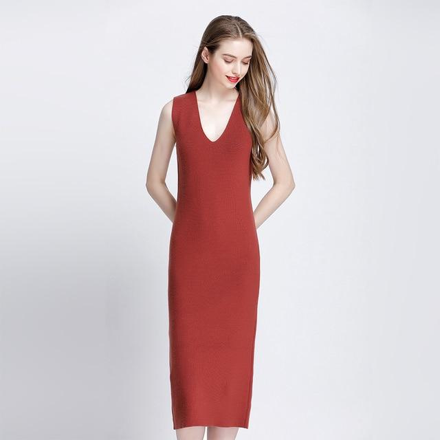 1adeef796ef5a Femmes De Laine robe pull longue gilet sans manches Mode Élégante robes de bureau  Sexy Partie