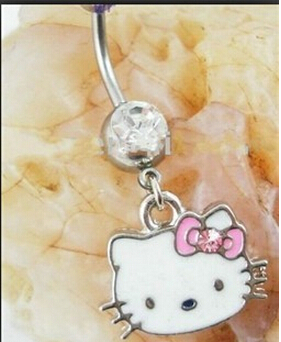 Belly Piercing Nose Ring Wholesale Fashion Gift 316l Surgical Steel Dangler Hello Kitty Belly Rings Animal Jewelry 12pc/lot