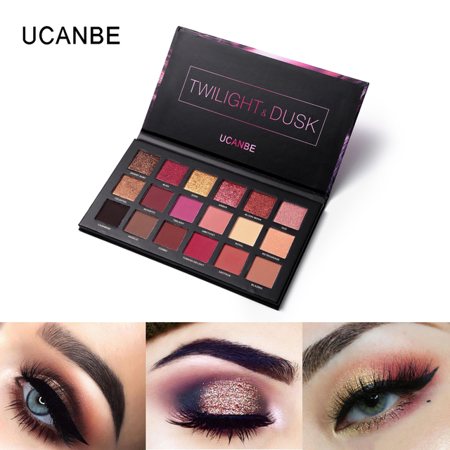 UCANBE Brand Eyes Cosmetic 18 Color Twilight & Dusk Eyeshadow Makeup Palette Shimmer& Glitter Powder Matte Eye Shadow Make Up 3