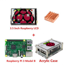 Wholesale Raspberry Pi 3 Model B Board + 3.5 TFT Raspberry Pi3 LCD Touch Screen Display with Stylus + Acrylic Case + Heat sinks kit
