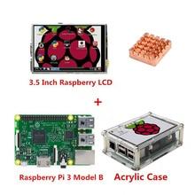 Wholesale Raspberry Pi 3 Model B Board + 3.5 TFT Raspberry Pi3 LCD Touch Screen Display with Stylus + Acrylic Case + Heat sinks kit