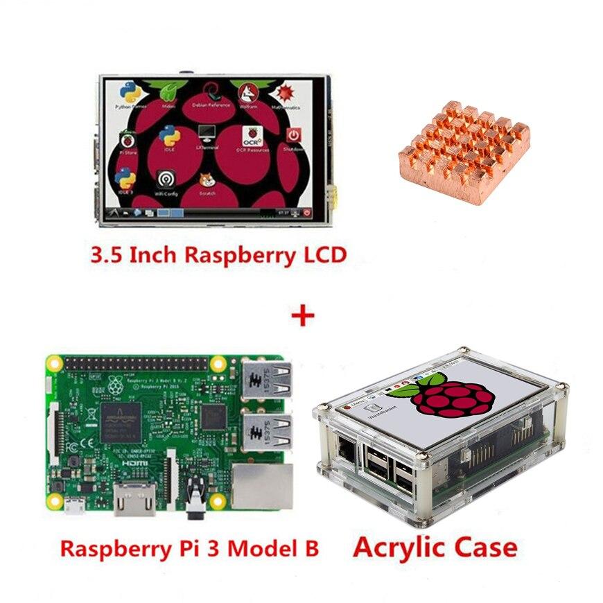 Raspberry Pi 3 Modelo B, Placa + 3,5 TFT Frambuesa Pi3 LCD Pantalla Táctil Stylus + Caja De Acrílico + Kit De Disipadores De Calor