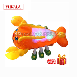 Free shipping the latest 3D lighting effects toys lights Lobster crawling automatic steering musical toys / action toy