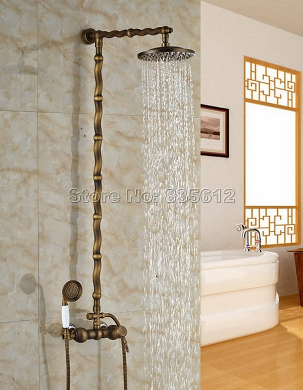 Wall Mounted Bathroom Retro Rain Shower Faucet Set Brass Finish with Ceramic Hand Shower 8 inch
