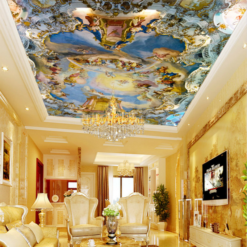 Custom home large mural ceiling frescoed ceilings Western European church ceiling 3D wallpaper myth free shipping triple solenoid valve 4v210 08 2 position base muffler connect 6mm 8mm quick fitting valves set 1 4 bsp